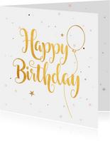 Verjaardagskaart Happy Birthday gold