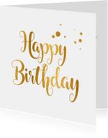 Verjaardagskaart happy birthday goud
