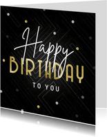 Verjaardagskaart Happy Birthday grafisch met confetti