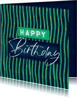Verjaardagskaart happy birthday kunst patroon man