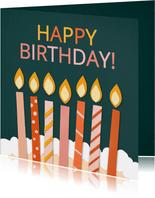 Verjaardagskaart Happy Birthday met kaarsen