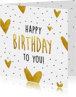 Verjaardagskaart Happy birthday to you goudlook