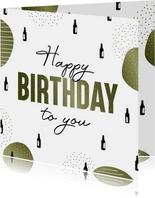 Verjaardagskaart happy birthday to you met biertjes