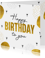 Verjaardagskaart happy birthday to you met wijnglazen