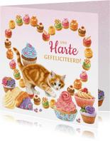 Verjaardagskaart hart van gebakjes