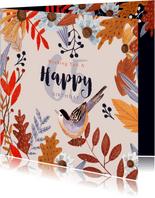Verjaardagskaart herfst bloemen en vogeltje