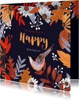 Verjaardagskaarten - Verjaardagskaart herfstbladeren oranje