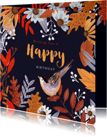 Verjaardagskaart herfstbladeren oranje