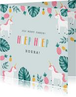 verjaardagskaart hip meisje unicorn eenhoorn ananas
