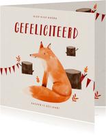 Verjaardagskaart hip met vosje en slingers illustratie