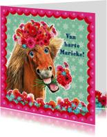 verjaardagskaart hip paard zeegroen roze