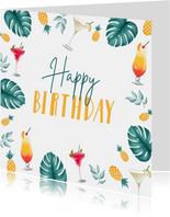 Verjaardagskaart hip zomer cocktails ananas