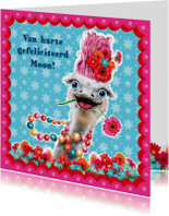 Verjaardagskaart hippe struisvogel blauw