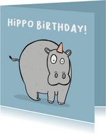 Verjaardagskaart Hippo Birthday woordgrap.