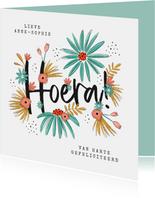 Verjaardagskaart hoera bloemen illustratie proficiat