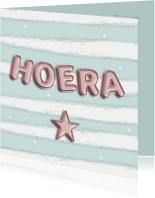 Verjaardagskaart Hoera met ballonletters pastel