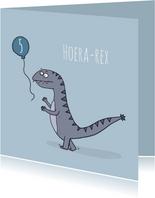 Verjaardagskaart Hoera-rex!
