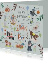 Verjaardagskaart honden botanisch planten