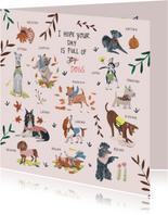 Verjaardagskaart honden en botanische planten