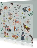 Verjaardagskaart honden en planten