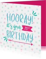 Verjaardagskaart Hooray it's your .. Birthday  met confetti