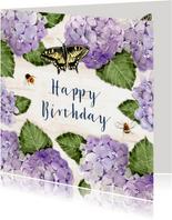 Verjaardagskaart Hortensia's met houten bord