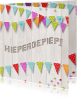 Verjaardagskaart hout vlag av