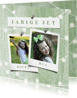 Verjaardagskaart houtlook groen lampjes met foto