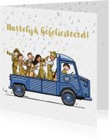Verjaardagskaart HY bus met orkest