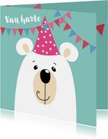 Verjaardagskaart - ijsbeer met roze feestmuts
