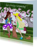 Verjaardagskaart in de tuin met ezels