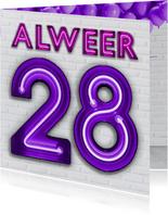 Verjaardagskaart Je eerste of zesde keer 28 worden.