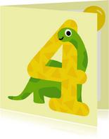 Verjaardagskaart jongen - 4 jaar dinosaurus