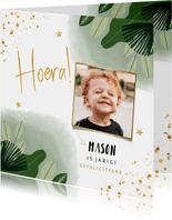 Verjaardagskaart jongen jungle gouden sterren en foto