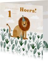 Verjaardagskaart jongen met leeuwtje en plantjes