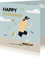 Verjaardagskaart jongen tiener skating in blauw en oker