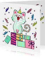 Verjaardagskaart kat, cadeaus en slingers