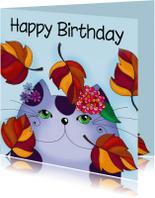 Verjaardagskaart Kat in de herfst  - SK
