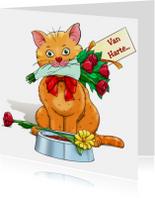 Verjaardagskaart kat met bloemen en kaartje: Van Harte...