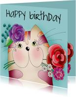 Verjaardagskaart - Kat met bloemen - SK