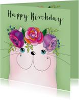 Verjaardagskaart kat met bloementooi - SK