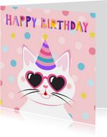 Verjaardagskaart kat met hartjesbril