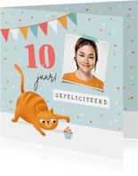 Verjaardagskaart kat poes cupcake confetti slingers foto