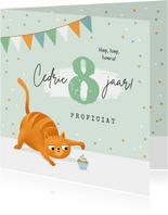 Verjaardagskaart kat poes cupcake confetti slingers