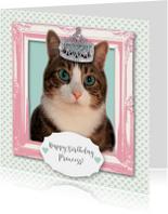Verjaardagskaart kat prinses meisje