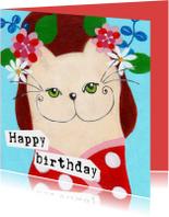 Verjaardagskaarten - Verjaardagskaart kat stippels