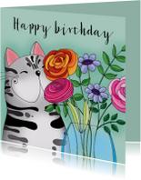 Verjaardagskaart Kat vaas bloemen - SK