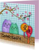 Verjaardagskaarten - Verjaardagskaart katten love & happiness