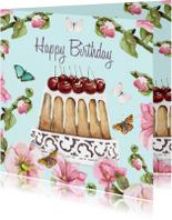 Verjaardagskaart Kersentaart