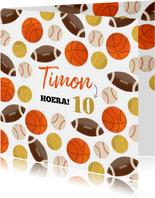 Verjaardagskaart kind balsporten patroon basket rugby tennis